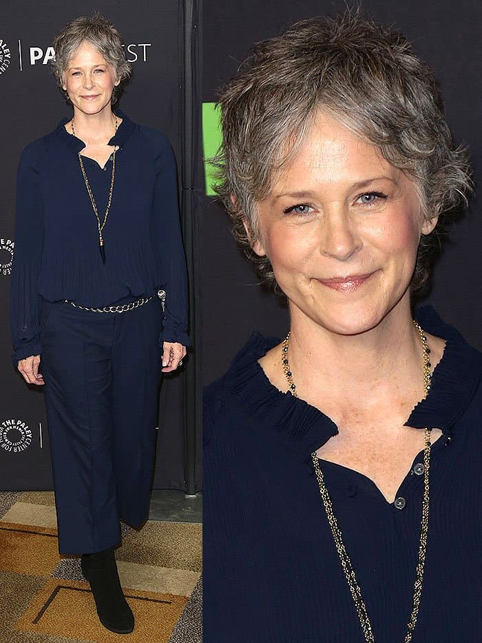 "Melissa McBride at ""The Walking Dead"" presentation during the 34th annual PaleyFest at the Dolby theatre in Hollywood, California, on March 17, 2017."