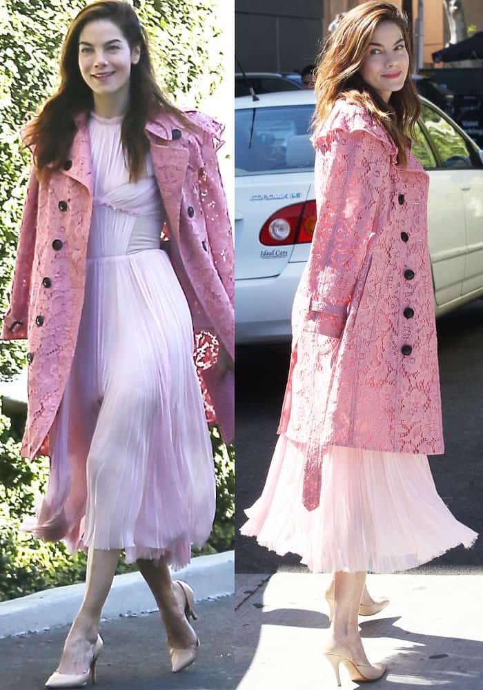 The actress wows in her pink J. Mendel pleated dress