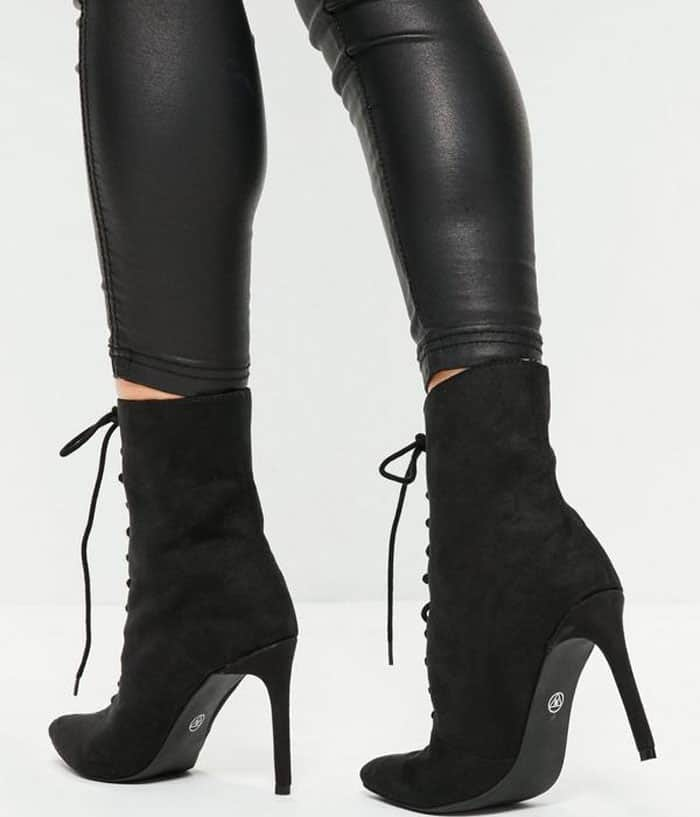 Missguided's Black Pointed-Toe Lace-Up Ankle Boots
