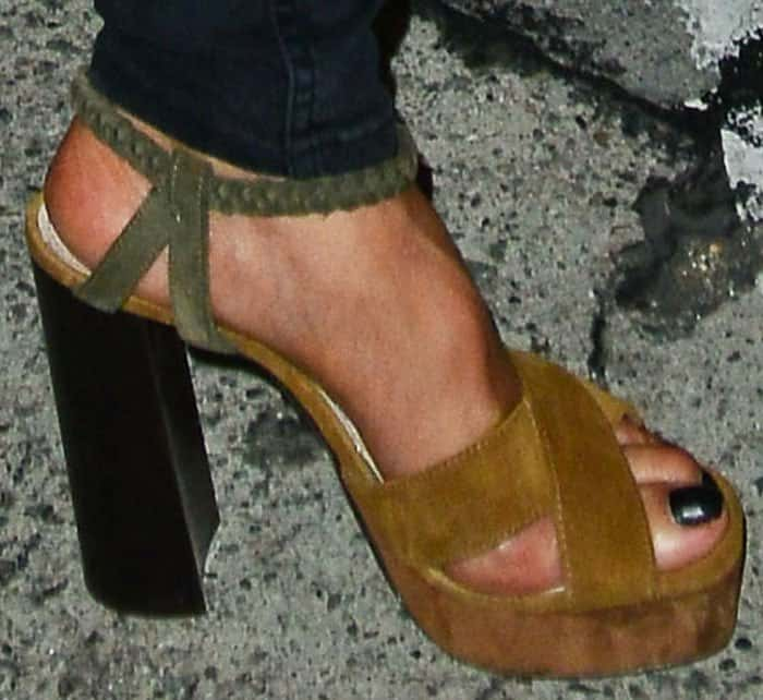 Nicole stepped out for dinner in a pair of color block platform sandals by Lanvin