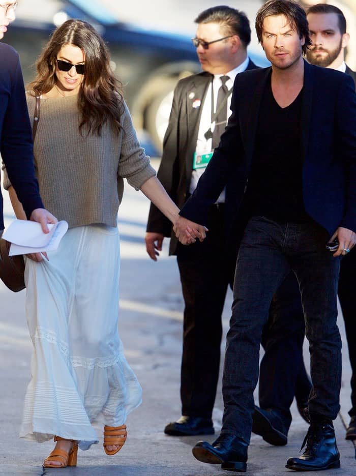 "Nikki held her husband Ian Somerhalder's hand as the two made their way into the ""Jimmy Kimmel Live!"" set"