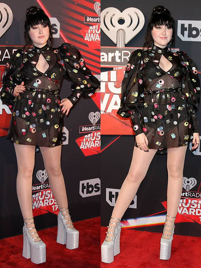 Noah Cyrus's ridiculously high, glittery silver platform pumps