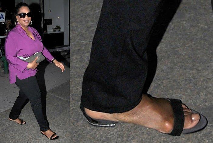 Oprah Winfrey exposing her foot bunion whileleaving ABC Kitchen restaurant in Manhattan on April 5, 2012