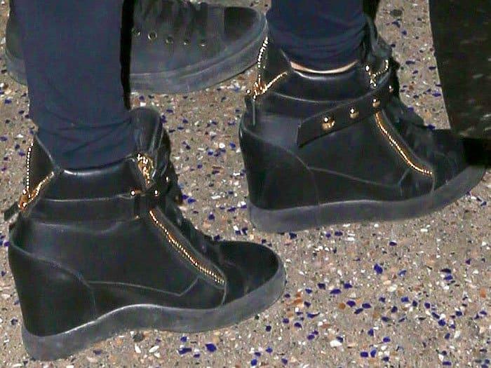 Paris Hilton wearing Giuseppe Zanotti 'Lorenz' wedge sneakers