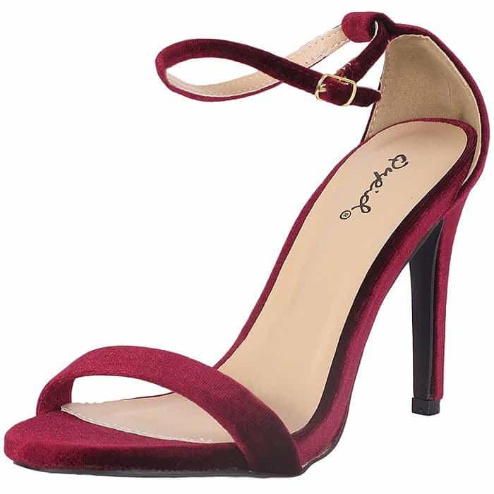 Qupid Grammy-01 Ankle-Strap Sandals in garnet velvet