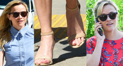 68f9fec8467 Reese Witherspoon Rocks Two Looks in One Day Wearing Stuart Weitzman   Nearlynude  Sandals