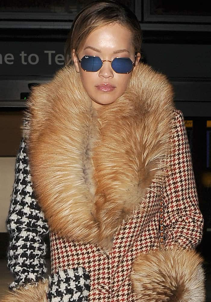 Rita Ora arriving at the Heathrow Airport on a flight from Milan on February 27, 2017
