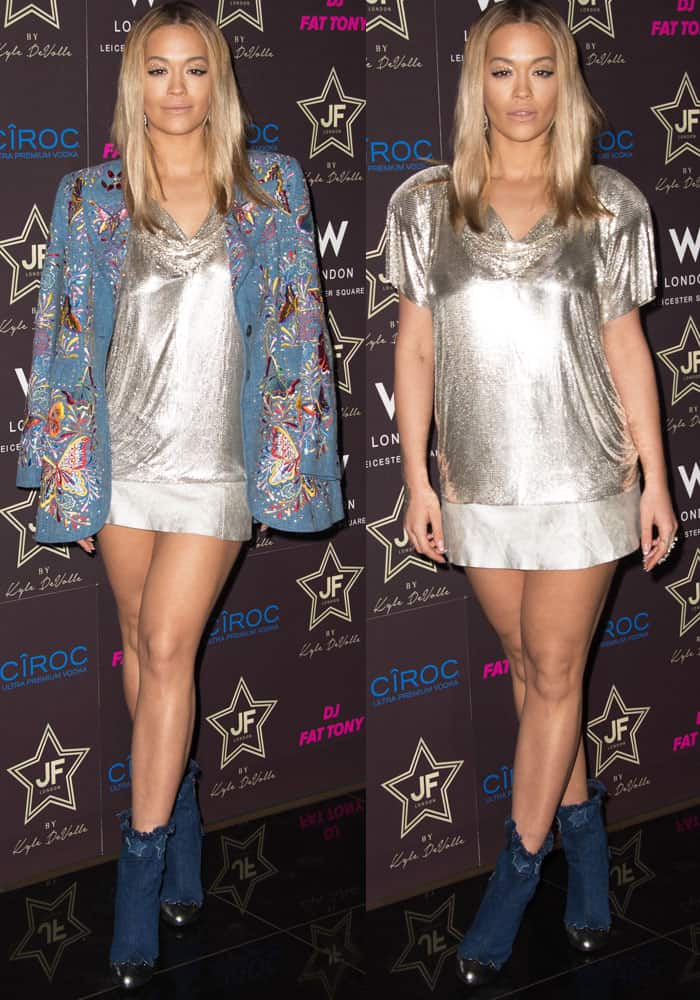 Rita wears a sequined outfit underneath an embroidered butterfly denim jacket