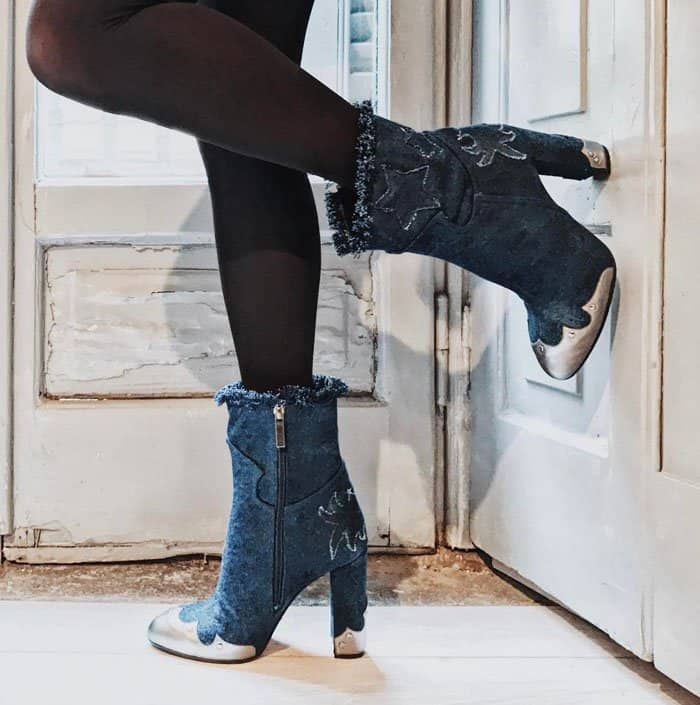 Denim boots from the Kyle De'Volle x JF London capsule collection