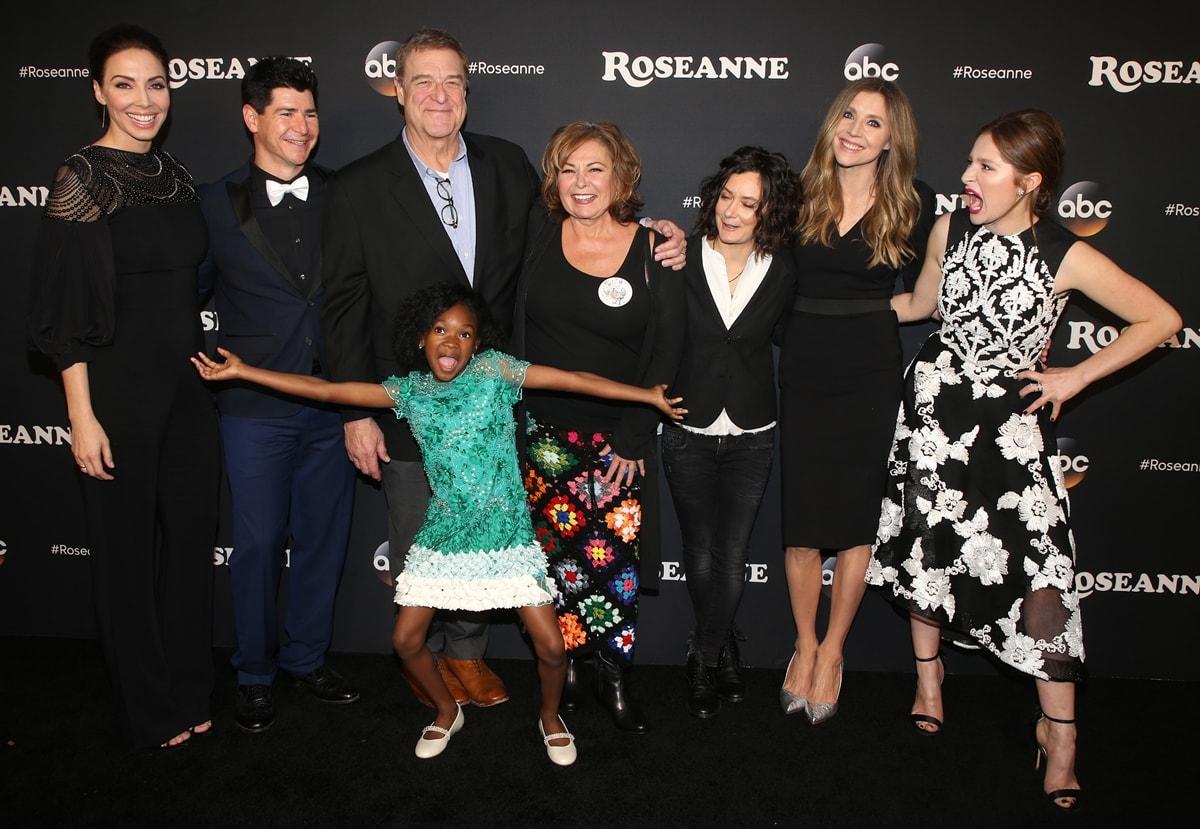 "Whitney Cummings, Michael Fishman, John Goodman, Jayden Rey, Roseanne Barr, Sara Gilbert, Sarah Chalke, and Emma Kenney attend the premiere of ABC's ""Roseanne"""