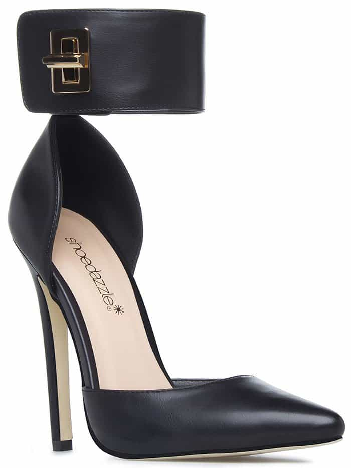 Pearlette Turnlock- Ankle-Cuff Pointy-Toe Pumps