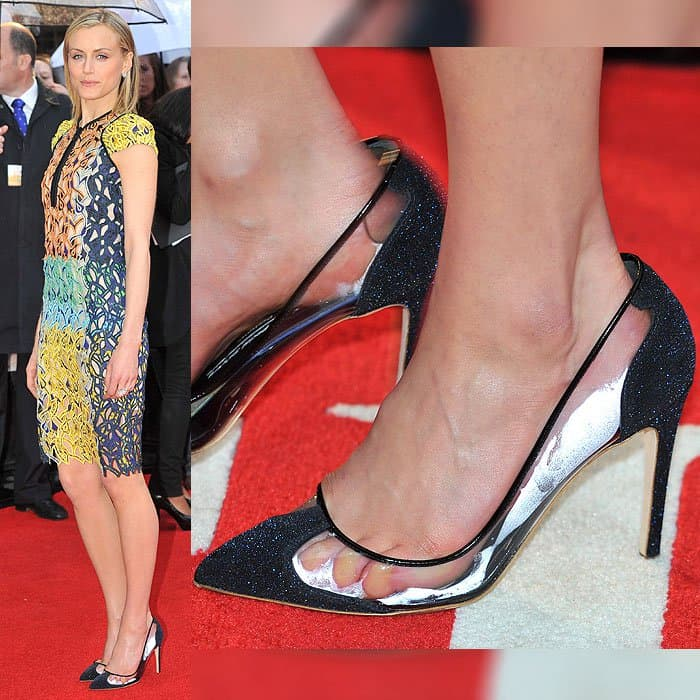 "Taylor Schilling with a bad case of foot fog in Rupert Sanderson ""Prunia"" pumps at ""The Lucky One"" UK premiere held at the Bluebird Cafe in London, England, on April 23, 2012."