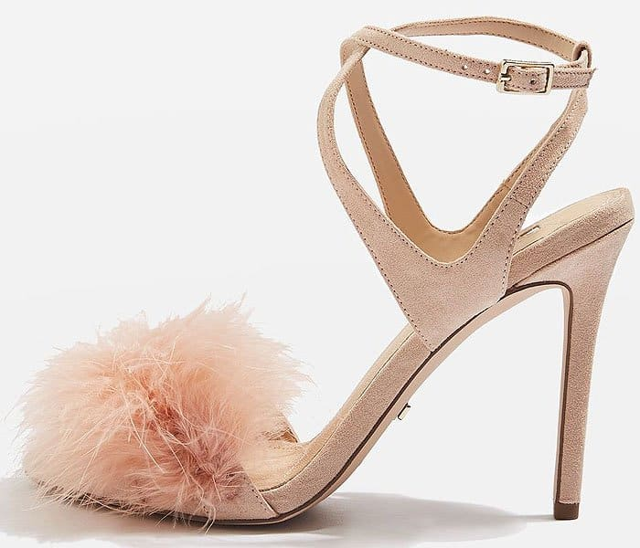 Topshop Reine Feather-Topped Suede Ankle-Strap Sandals