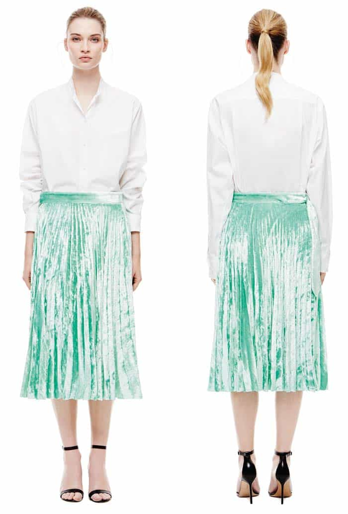 Victoria Beckham Grandad Shirt, $790 and Pleated Skirt