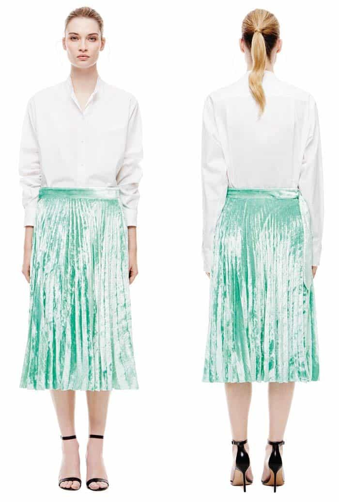 Victoria Beckham Grandad Shirt, $790 and Pleated Skirt