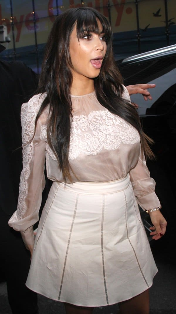 A very pregnant Kim Kardashian is seen arriving at ABC Studios for 'Good Morning America' in Manhattan
