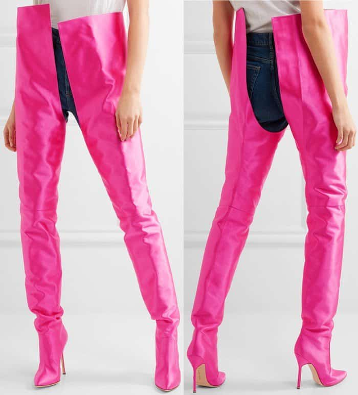Vetements x Manolo Blahnik Waist-High Boots in Bright Pink Satin
