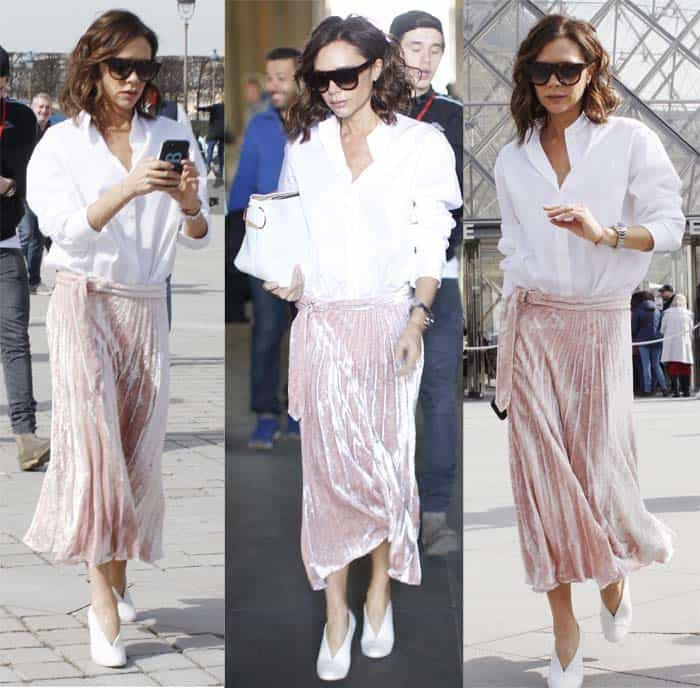 Victoria Beckham promotes her own label while celebrating family birthdays on March 11, 2017 in Paris, France