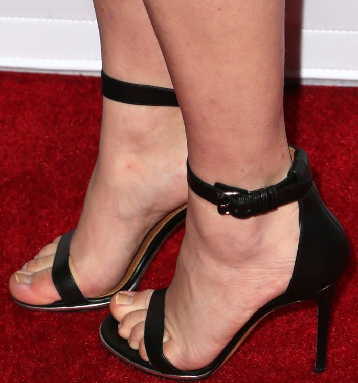 Amanda Seyfried in Givenchy Nadia ankle-strap sandals