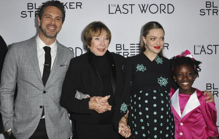 Amanda Seyfried with co-stars Thomas Sadoski, Shirley MacLaine, and Ann'Jewel Lee at 'The Last Word' premiere