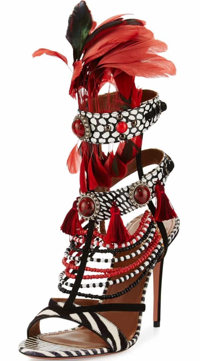 "Aquazzura ""Voodoo"" Beaded Multi-Strap Sandals"