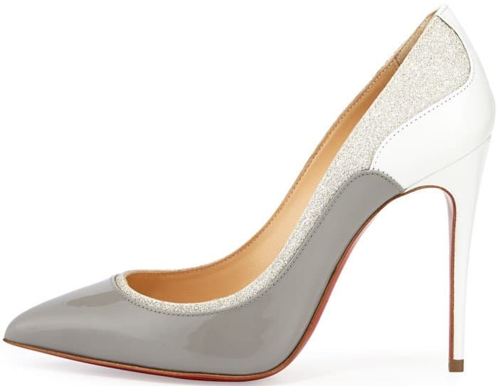 "Christian Louboutin ""Tucsick"" Pumps in Grey and White Patent Leather"