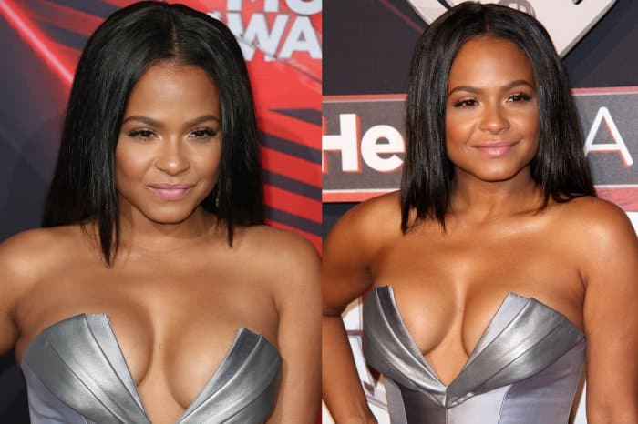 "Christina Milian wearing a metallic mini dress from Rubin Singer and ""Tucsick"" pumps from Christian Louboutin at the 2017 iHeartRadio Music Awards"