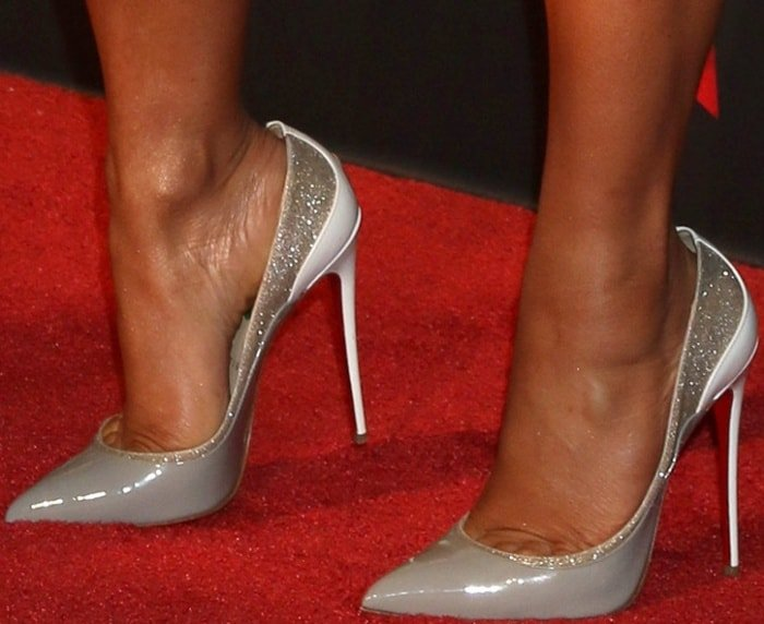 "Christina Milian wearing ""Tucsick"" pumps in grey and white patent leather from Christian Louboutin at the 2017 iHeartRadio Music Awards"
