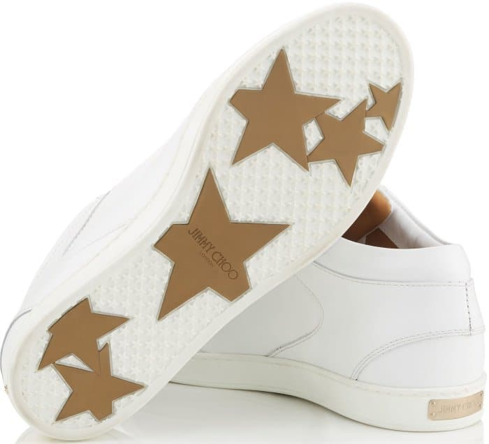 "Jimmy Choo ""Miami"" White Calf Leather Low Top Trainers"