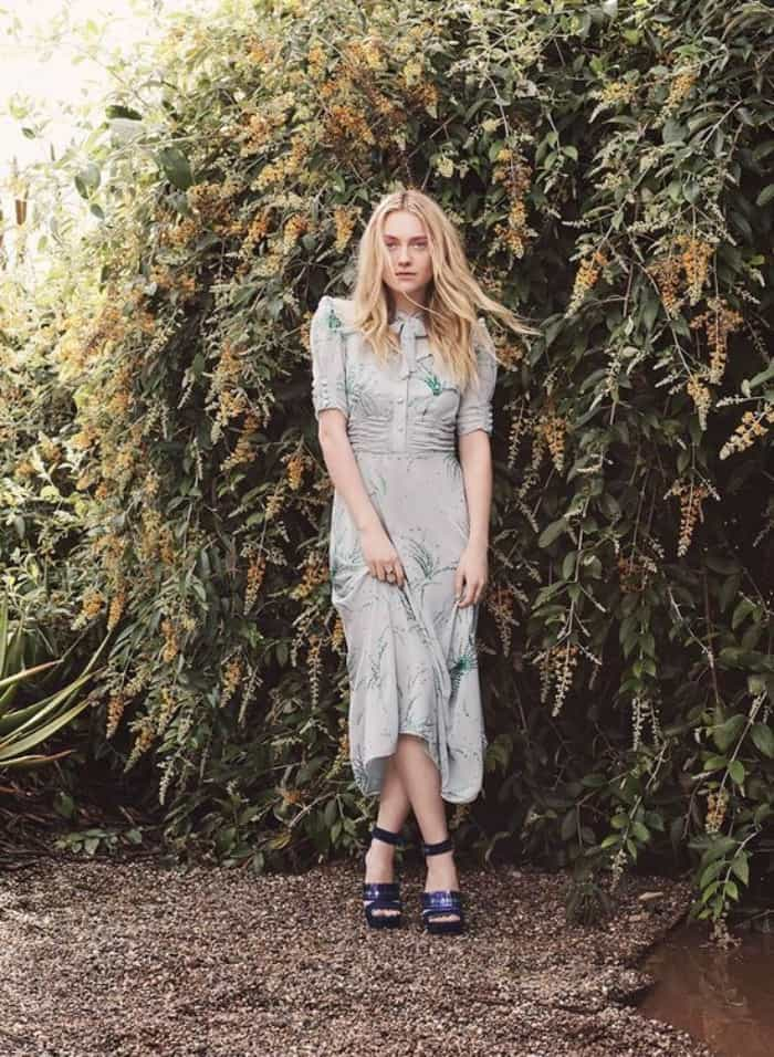"Dakota Fanning wearing the ""Kathleen"" sandals in Jimmy Choo's spring/summer 2017 style diary"