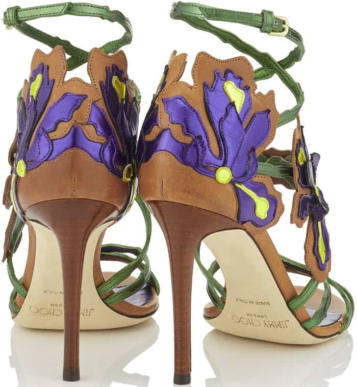 "Jimmy Choo ""Lolita"" Canyon Mix Mirror Leather and Vaccetta Sandals"
