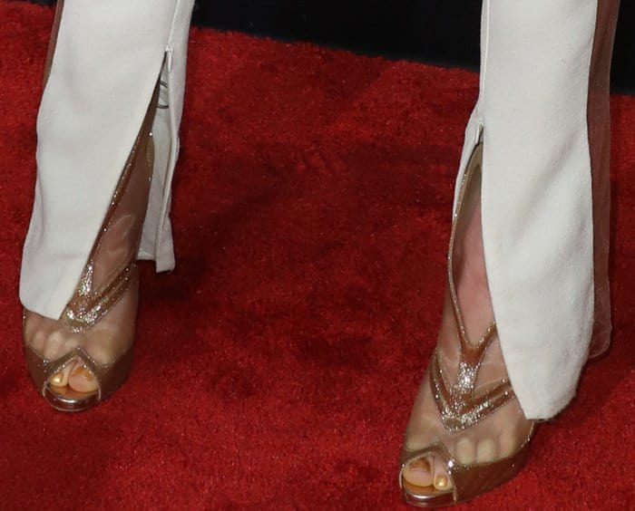 Daya wearing sparkly peep-toed heels with mesh panels at the 2017 iHeartRadio Music Awards
