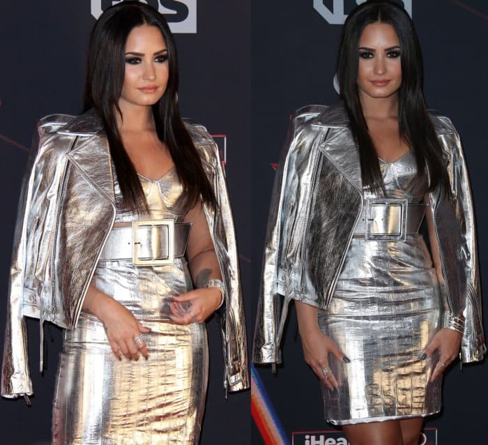 Demi Lovato wearing a metallic ensemble with silver Christian Dior pointed-toe pumps at the 2017 iHeartRadio Music Awards