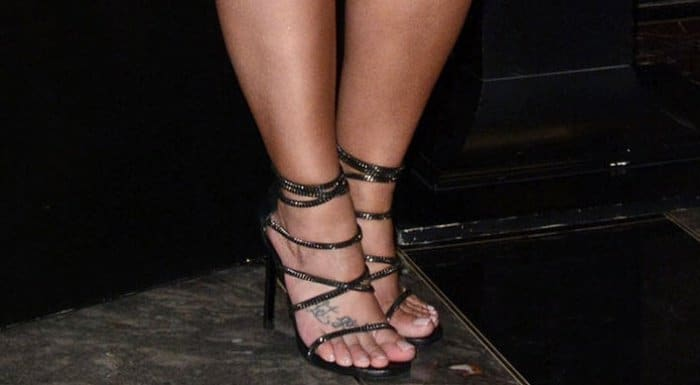 Demi Lovato displayed her feet in strappy black shoes