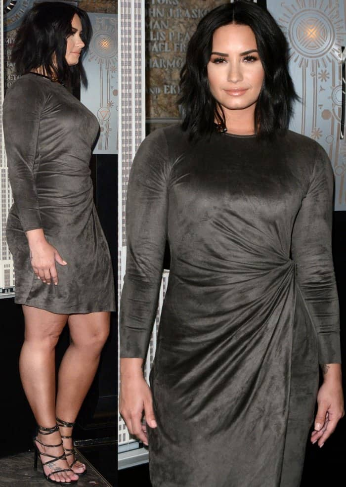 Demi Lovato with tousled waves and glossy nude lips