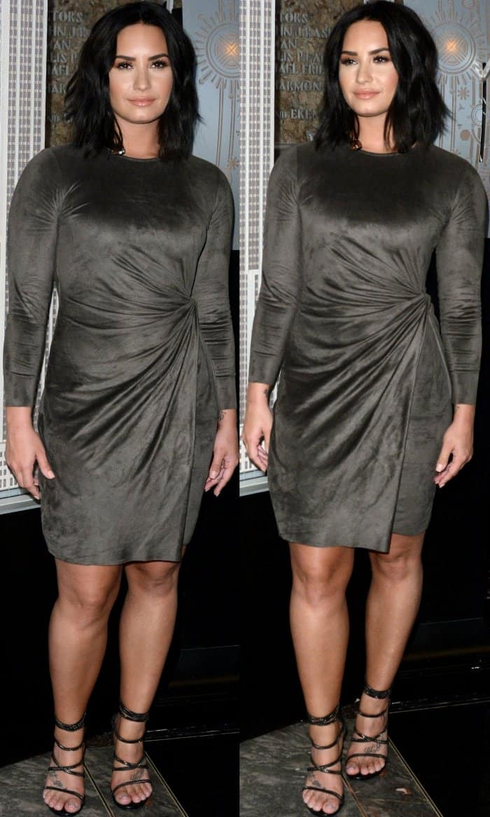 """Demi Lovato wearing a knotted faux wrap dress from Josie Natori and Stuart Weitzman """"Xchain"""" sandals"""