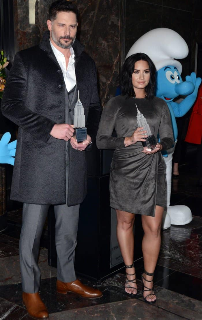 Joe Manganiello and Demi Lovato at the Empire State Building for the International Day of Happiness