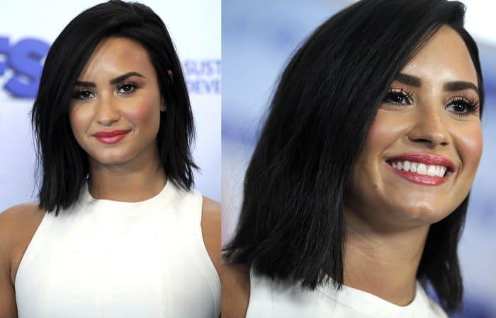 Demi Lovato wearing a white fit-and-flare mini dress from Jill Stuart