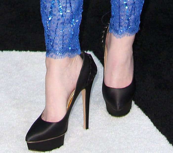 "Elizabeth Banks wearing ""Paloma"" black satin pumps from Charlotte Olympia at the ""Power Rangers"" LA premiere"