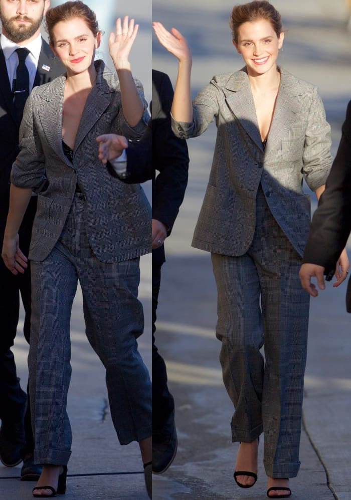 "Emma Watson wearing a slouchy vintage suit from YSL and ""Hey Simone"" sandals from SUSI Studio"