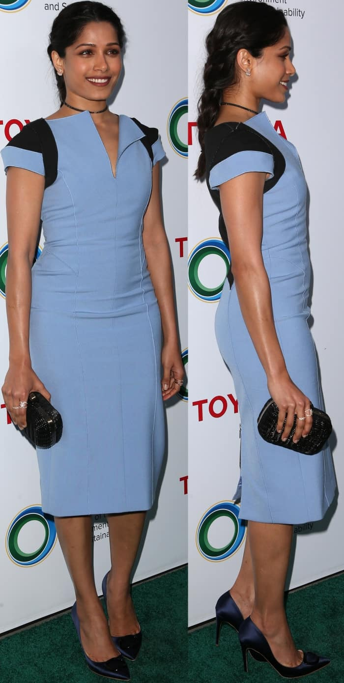 "Freida Pinto wearing a blue Amanda Wakeley dress and Rupert Sanderson ""Etienne"" Moonlight Embellished Satin Pumps at the Innovators for a Healthy Planet Gala"