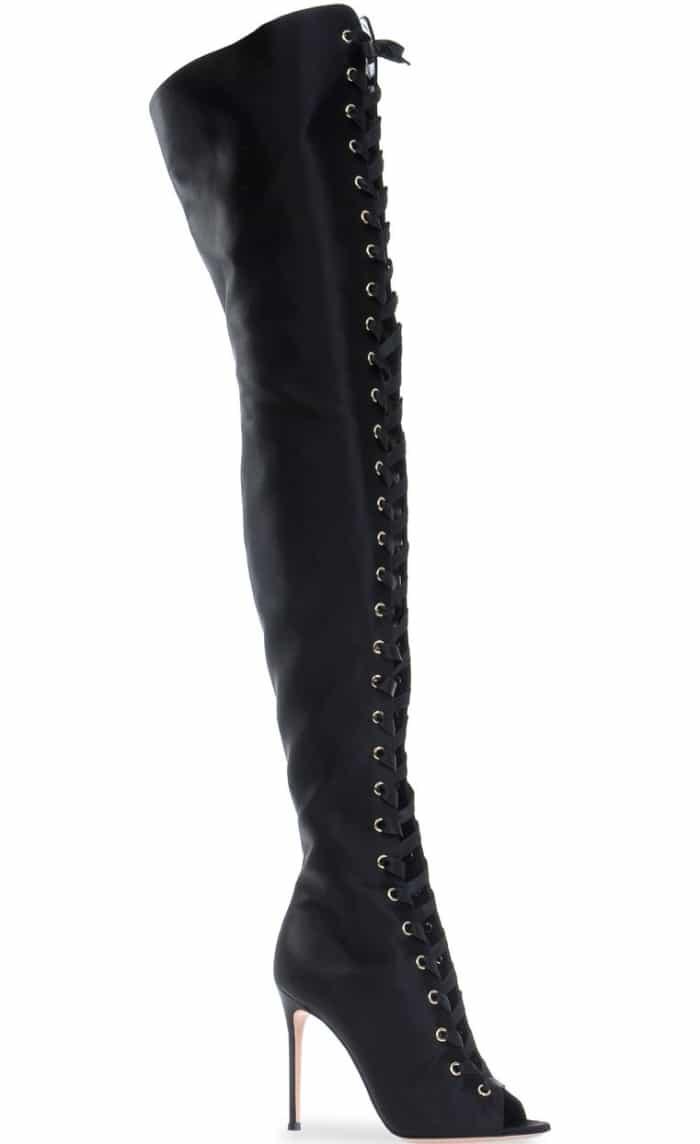 "Gianvito Rossi ""Marie"" Boots in Black Satin"
