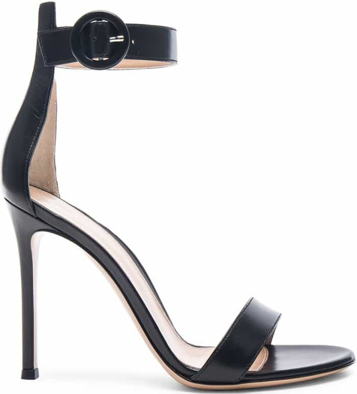 """Gianvito Rossi """"Portofino"""" Sandals in Black Leather"""