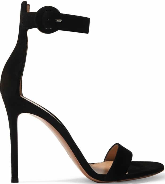 """Gianvito Rossi """"Portofino"""" Sandals in Black Suede"""