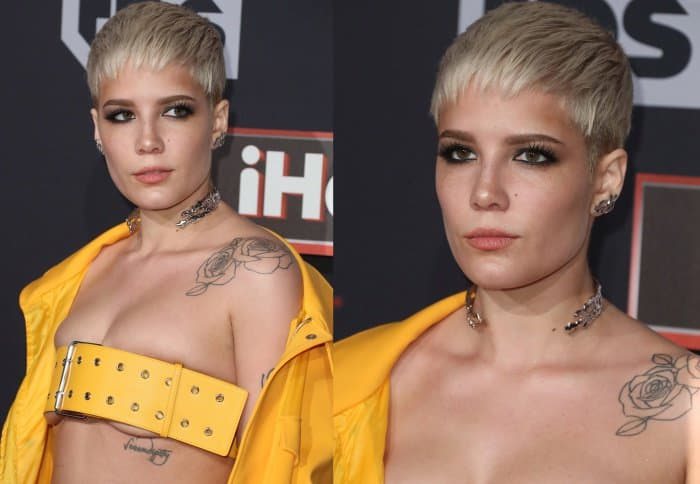 "Halsey wearing a yellow Versus Versace look and Stuart Weitzman ""Nudistsong"" sandals in pearl nappa leather at the 2017 iHeartRadio Music Awards"