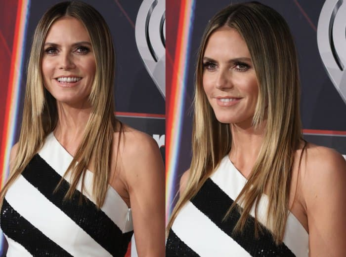 Heidi Klum wearing a Redemption dress and Giuseppe Zanotti sandals at the 2017 iHeartRadio Music Awards