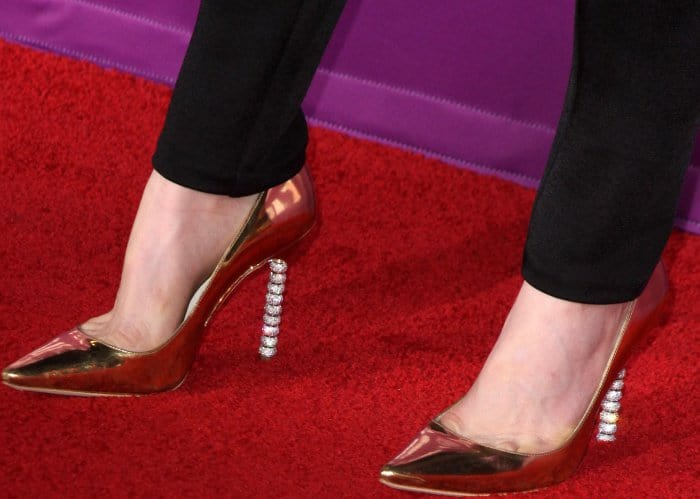 06238b47c350aa Kiernan Shipka wearing gold Sophia Webster  Coco Crystal  pumps