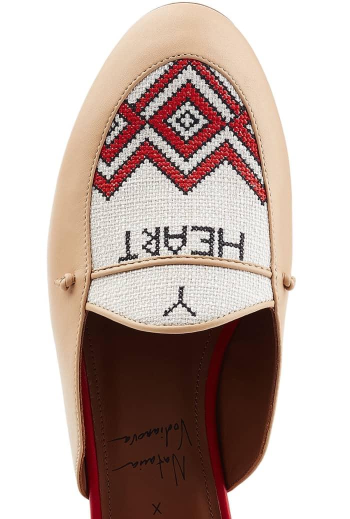 "Malone Souliers x Natalia Vodianova ""Neva"" Leather Slippers with Linen Stitching"