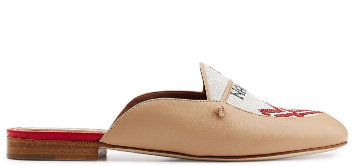"Malone Souliers x Natalia Vodianova ""Neva"" Leather Slippers with Linen Stitching"