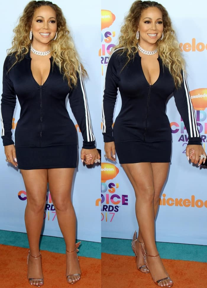 "Mariah Carey wearing a striped Adidas mini dress and Sophia Webster ""Chiara"" rose gold sandals at the 2017 Kids' Choice Awards"